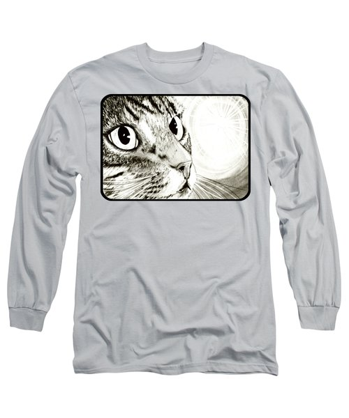 Long Sleeve T-Shirt featuring the drawing Fairy Light Tabby Cat Drawing by Carrie Hawks