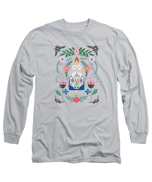 Fairy Tale Folk Art Garden Long Sleeve T-Shirt