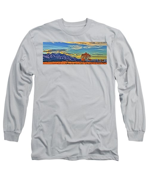 Long Sleeve T-Shirt featuring the photograph Fall Over The Flatirons by Scott Mahon