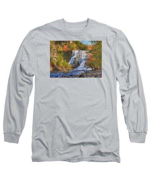 Falls In New York Long Sleeve T-Shirt by Sharon Batdorf