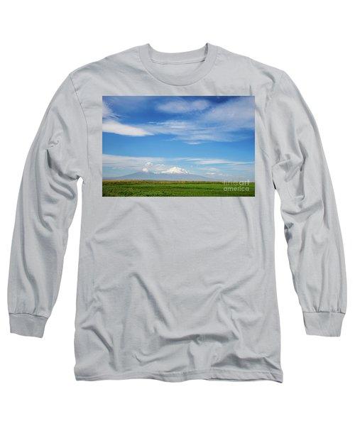 Famous Ararat Mountain Under Beautiful Clouds As Seen From Armenia Long Sleeve T-Shirt by Gurgen Bakhshetsyan