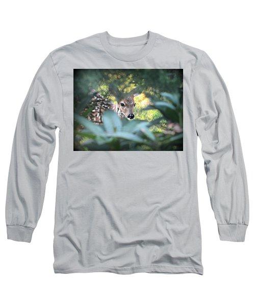Fawn Peeking Through Bushes Long Sleeve T-Shirt
