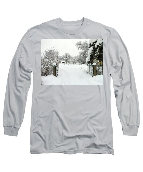 Long Sleeve T-Shirt featuring the photograph Fence And  Gate In Winter by Wilhelm Hufnagl