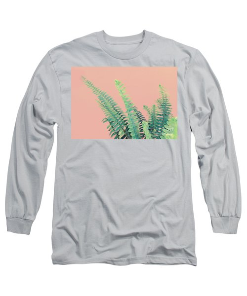 Ferns On Pink Long Sleeve T-Shirt