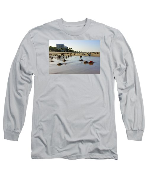 Long Sleeve T-Shirt featuring the photograph Fighting Conchs At Lowdermilk Park Beach In Naples, Fl  by Robb Stan