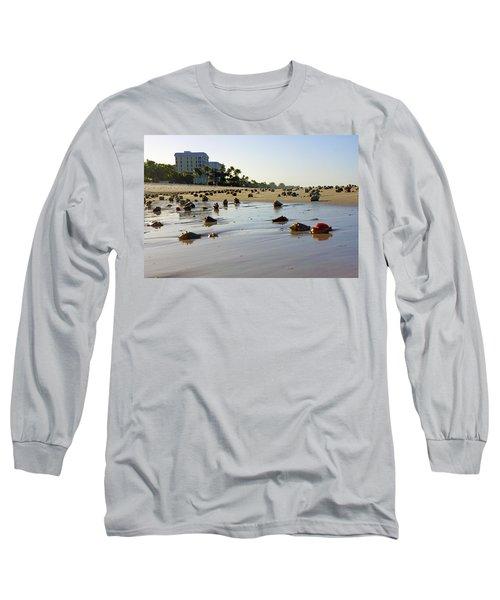 Fighting Conchs At Lowdermilk Park Beach In Naples, Fl  Long Sleeve T-Shirt