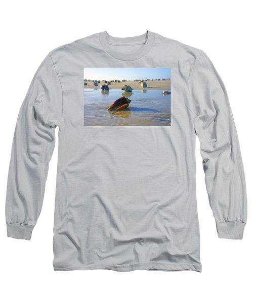 Fighting Conchs On The Sandbar Long Sleeve T-Shirt by Robb Stan