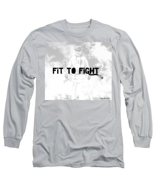 Fireman In White Long Sleeve T-Shirt by Megan Dirsa-DuBois