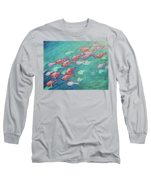 Long Sleeve T-Shirt featuring the painting Fish In Abundance by Xueling Zou