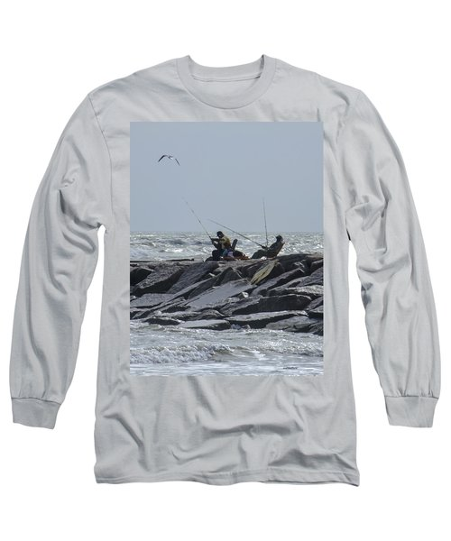 Fishermen With Seagull Long Sleeve T-Shirt