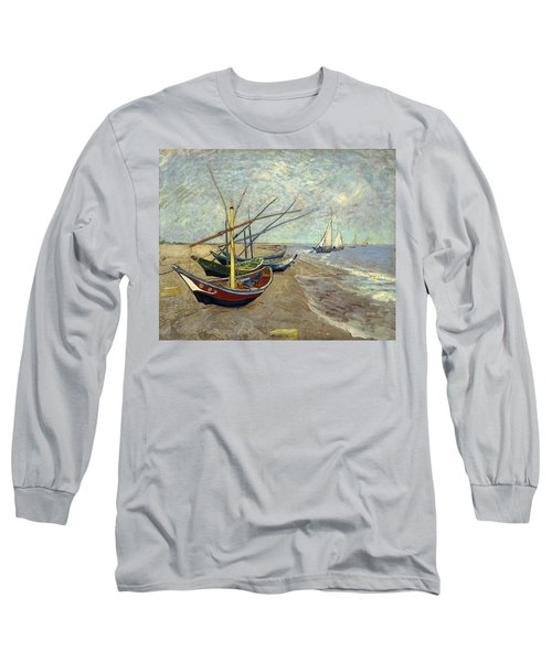 Long Sleeve T-Shirt featuring the painting Fishing Boats On The Beach by Van Gogh