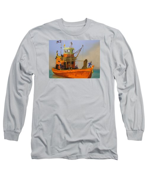 Fishing In Orange Long Sleeve T-Shirt