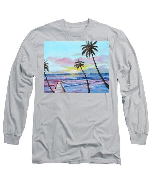 Fishing Pier Sunset Long Sleeve T-Shirt by Lloyd Dobson