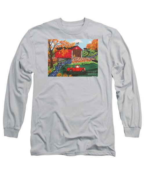 Long Sleeve T-Shirt featuring the painting Fishing Under The  Covered Bridge by Jeffrey Koss
