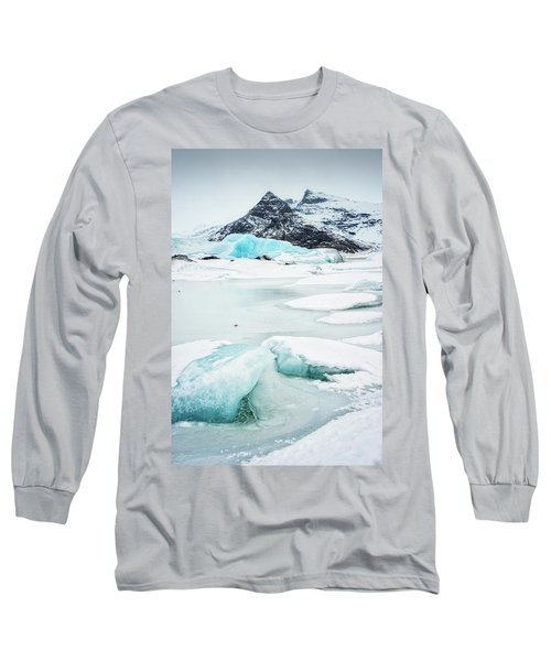 Fjallsarlon Glacier Lagoon Iceland In Winter Long Sleeve T-Shirt by Matthias Hauser
