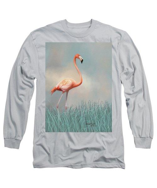 Flamingo Long Sleeve T-Shirt by Lena Auxier