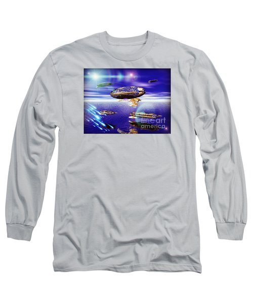Long Sleeve T-Shirt featuring the digital art Fleet Tropical by Jacqueline Lloyd