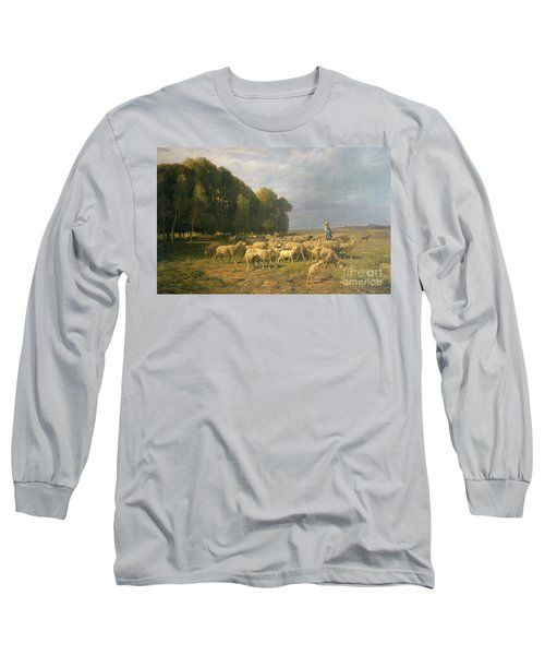 Flock Of Sheep In A Landscape Long Sleeve T-Shirt