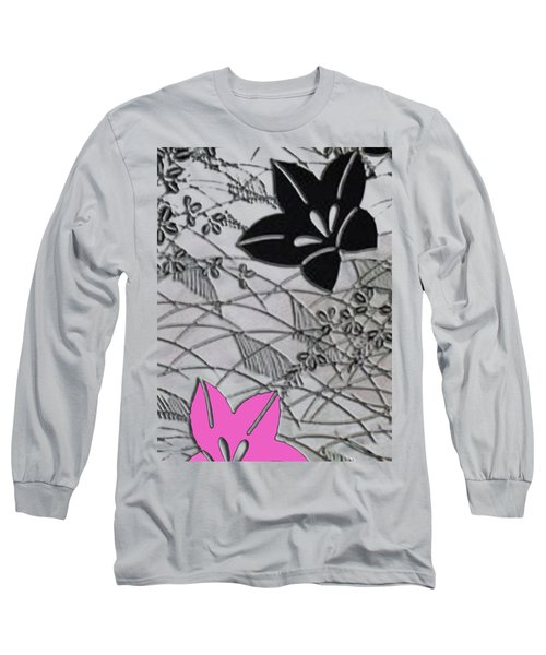 Long Sleeve T-Shirt featuring the digital art Floral Chirimen by Asok Mukhopadhyay