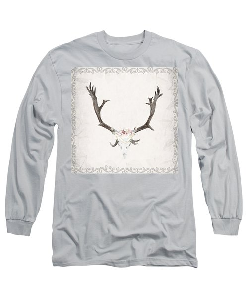 Floral Reindeer Skull  Long Sleeve T-Shirt by Michele Carter