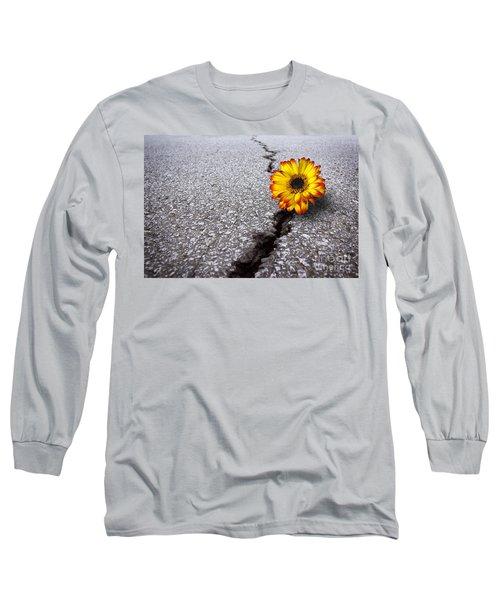 Flower In Asphalt Long Sleeve T-Shirt