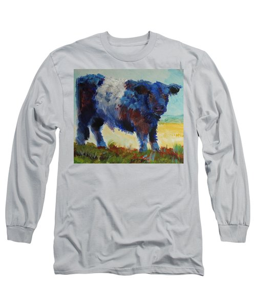 Fluffy Shaggy Belted Galloway Cow - Cow With A White Stripe Long Sleeve T-Shirt