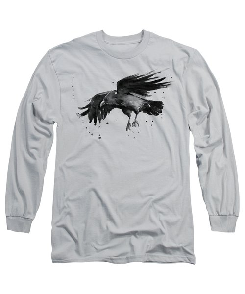 Flying Raven Watercolor Long Sleeve T-Shirt