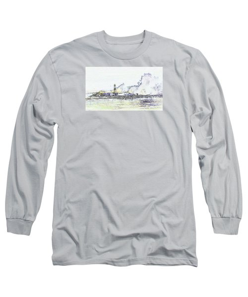 Long Sleeve T-Shirt featuring the photograph Foamy Sea At The Breakwater by Nareeta Martin