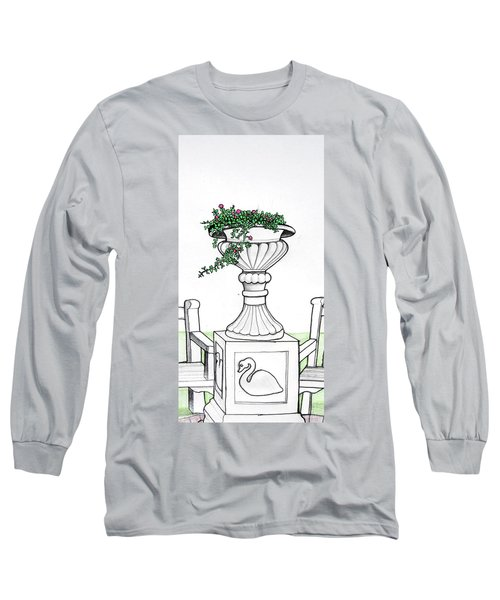 Long Sleeve T-Shirt featuring the drawing Foliage Fountain by Mary Ellen Frazee