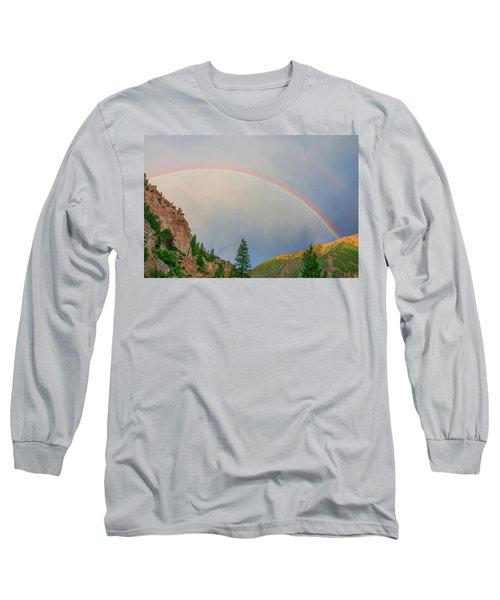 Follow The Rainbow To The Majestic Rockies Of Colorado.  Long Sleeve T-Shirt by Bijan Pirnia