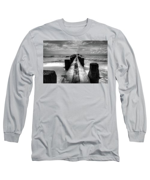 Folly Beach Pilings Charleston South Carolina In Black And White  Long Sleeve T-Shirt