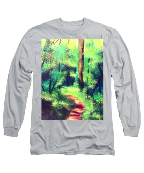 Long Sleeve T-Shirt featuring the painting Forest Path by Denise Tomasura