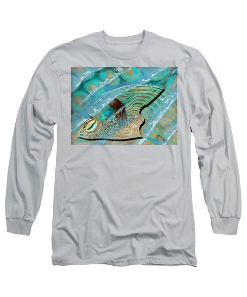 Long Sleeve T-Shirt featuring the painting Fossil On The Shore by Suzanne McKee
