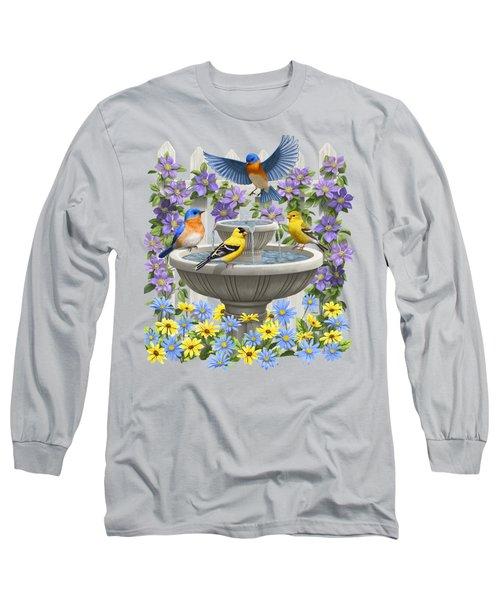 Fountain Festivities - Birds And Birdbath Painting Long Sleeve T-Shirt