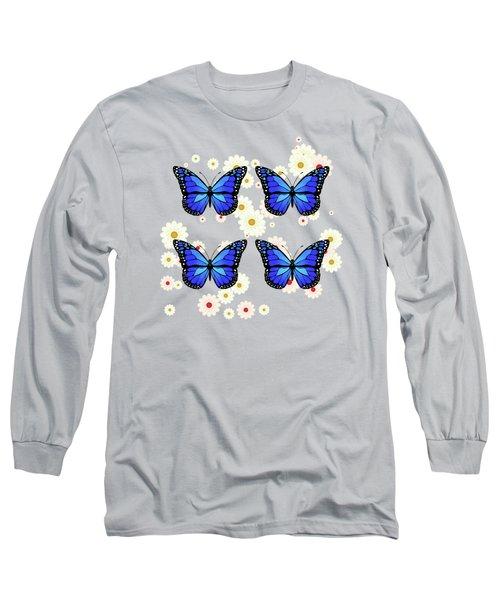 Four Blue Butterflies Long Sleeve T-Shirt