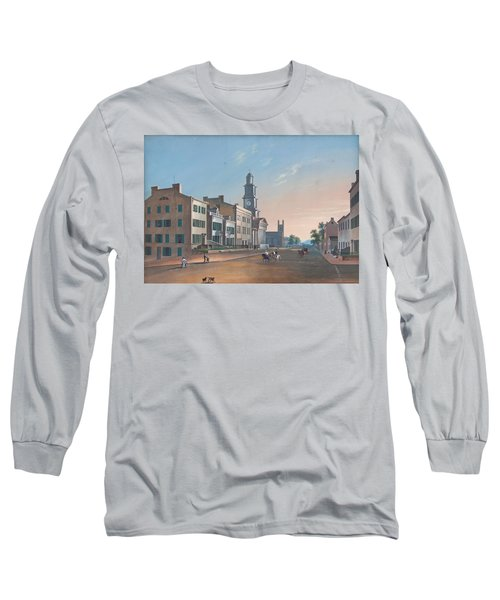 Long Sleeve T-Shirt featuring the painting Fourth Street. West From Vine by John Caspar Wild