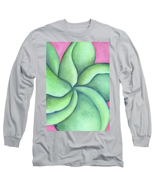 Frangipani Green Long Sleeve T-Shirt by Versel Reid