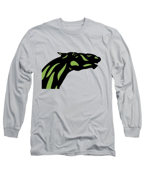 Fred - Pop Art Horse - Black, Greenery, Island Paradise Blue Long Sleeve T-Shirt