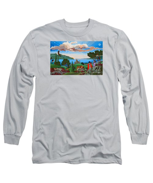 Long Sleeve T-Shirt featuring the painting From A High Place, Troubles Remain Small by Chholing Taha