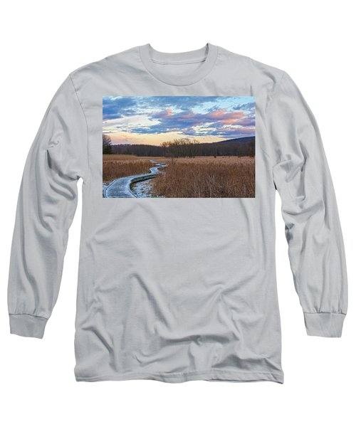 Frosty Blue Trail Long Sleeve T-Shirt by Angelo Marcialis