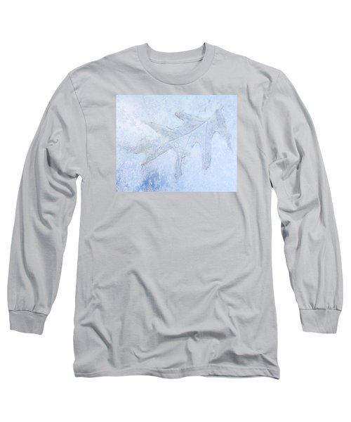 Frozen Oak Leaf Imprint Long Sleeve T-Shirt by Kathy M Krause