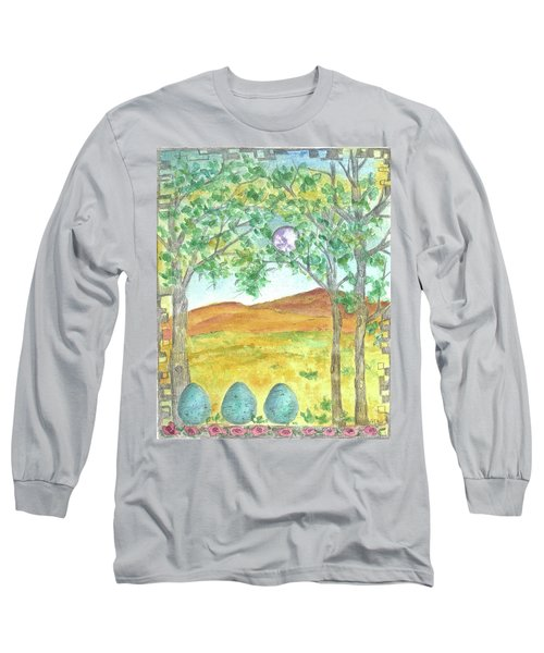 Long Sleeve T-Shirt featuring the drawing Full Moon And Robin Eggs by Cathie Richardson