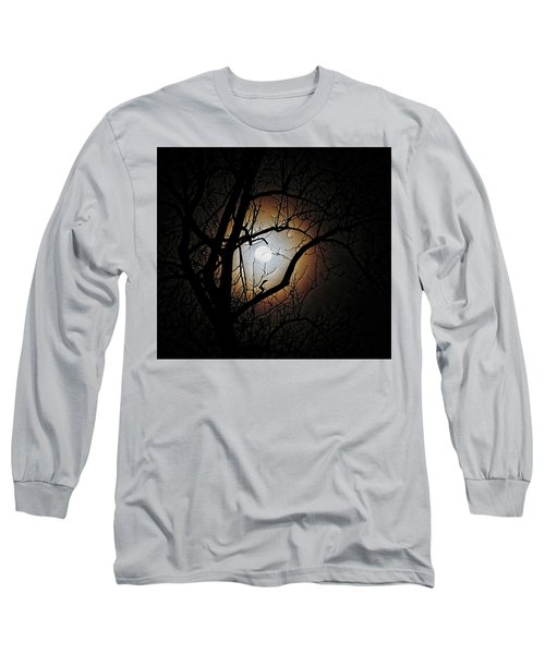 Full Moon Oil Painting Long Sleeve T-Shirt