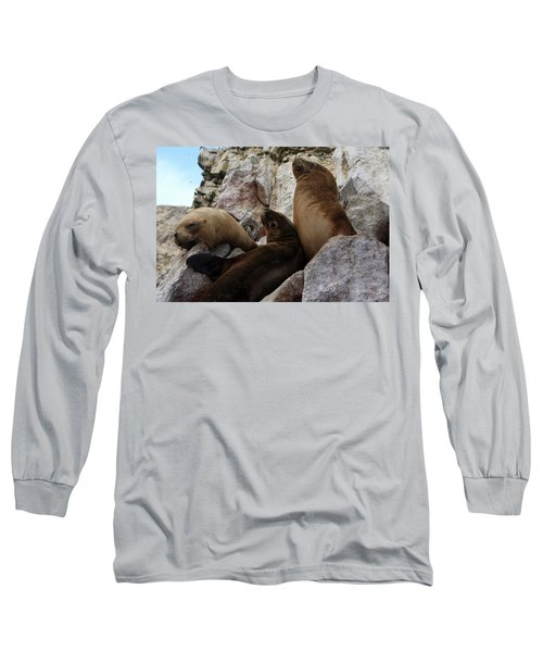 Long Sleeve T-Shirt featuring the photograph Fur Seals On The Ballestas Islands, Peru by Aidan Moran