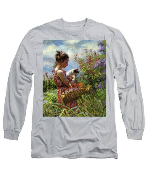 Long Sleeve T-Shirt featuring the painting Garden Gatherings by Steve Henderson