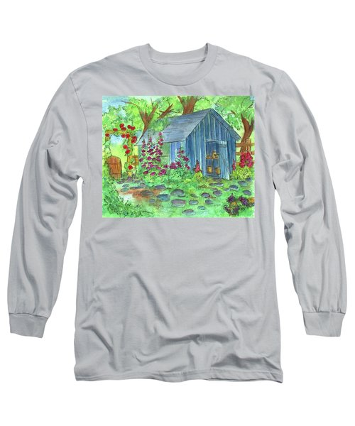 Long Sleeve T-Shirt featuring the painting Garden Potting Shed by Cathie Richardson
