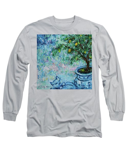Long Sleeve T-Shirt featuring the painting Garden Sleeping Cat by Xueling Zou
