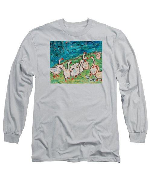 Long Sleeve T-Shirt featuring the painting Geese By The Pond by Xueling Zou