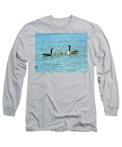 Long Sleeve T-Shirt featuring the photograph Geese Proud Parents by Rockin Docks Deluxephotos