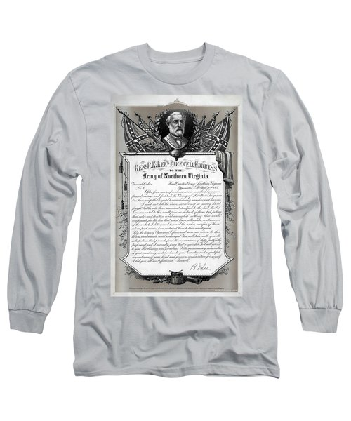 Long Sleeve T-Shirt featuring the mixed media General Robert E. Lee's Farewell Address To Confederate Soldiers by Daniel Hagerman